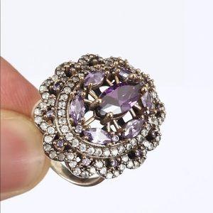 Sultan Ottoman Topaz Amethyst Silver Ring Size 8.5